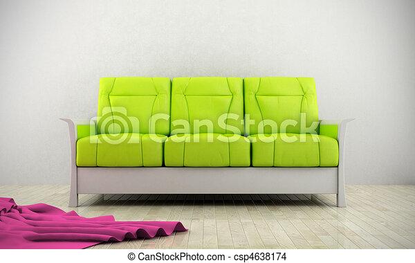 Un sofá moderno verde - csp4638174