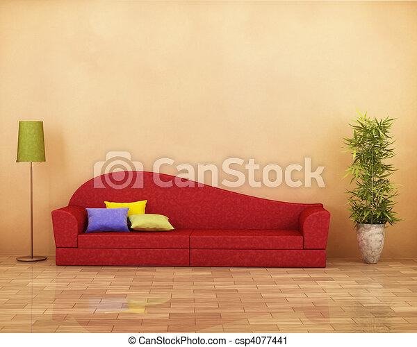 Sofa rojo - csp4077441