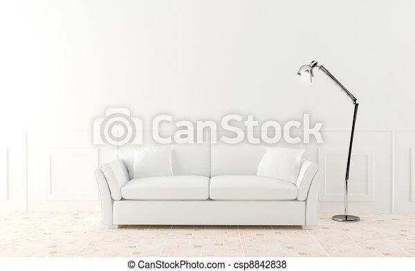 Sofa blanco en cuarto luminoso - csp8842838