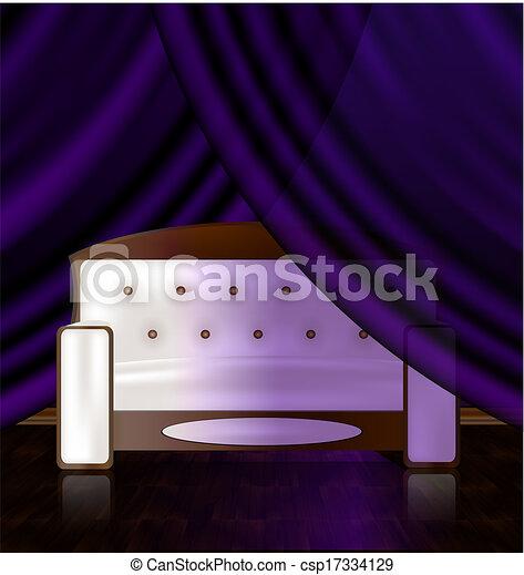 El sofá blanco en la habitación violeta - csp17334129