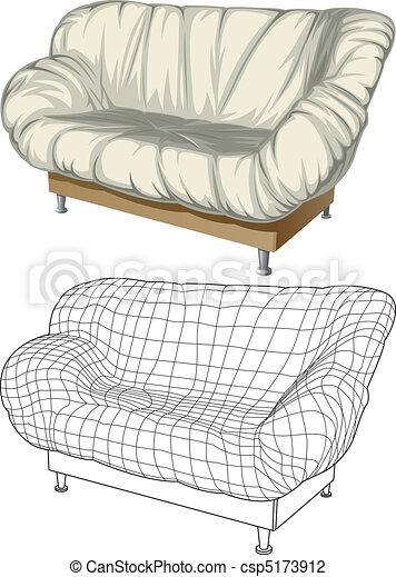 Sofa. 3D construction - csp5173912