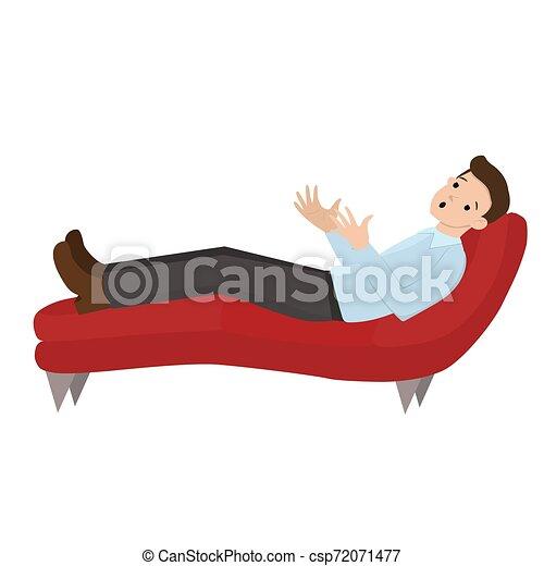 Un hombre en una recepción en el psicólogo. El hombre está acostado en el sofá. Habla con un psicólogo. Gráficos de vectores aislados en el fondo blanco. - csp72071477