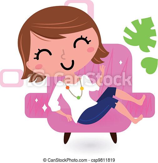 sofa, blanc, femme, isolé, délassant - csp9811819