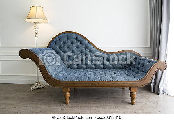 sofa bleu, regard, luxueux - csp20613310