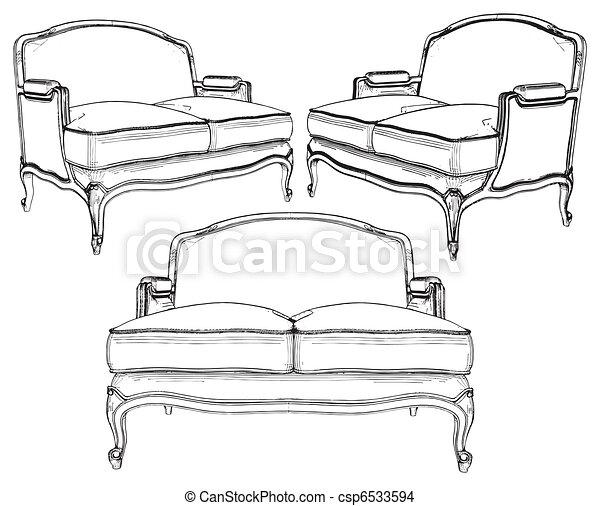 sofa, classique - csp6533594