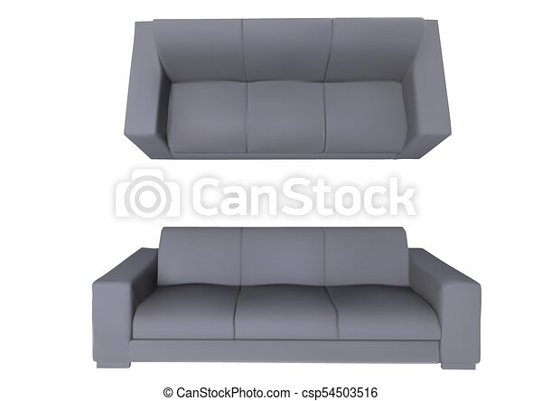 Sofa Front And Top View Isolated On White Background