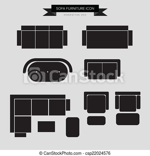 Sofa Furniture Icon Top View For Interior Plan Vector Eps10