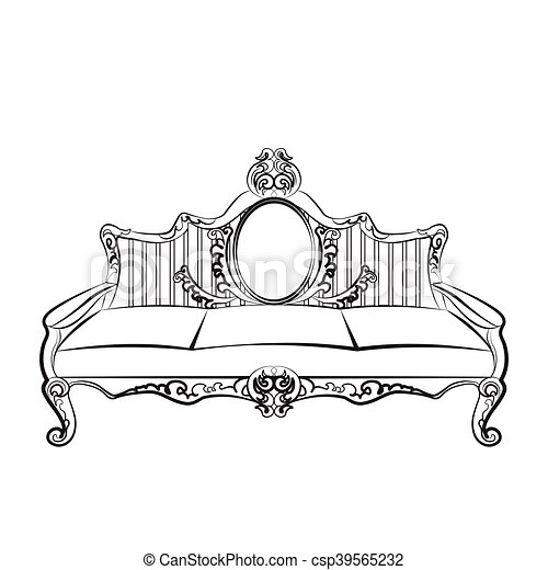 sofa furniture with luxurious ornament baroque style Small Business Clip Art Small Business Clip Art