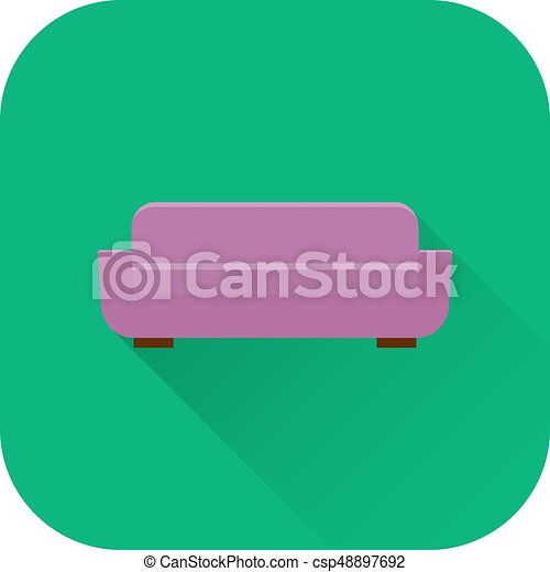 Sofa icon. Flat design with long shadow. Vector. - csp48897692