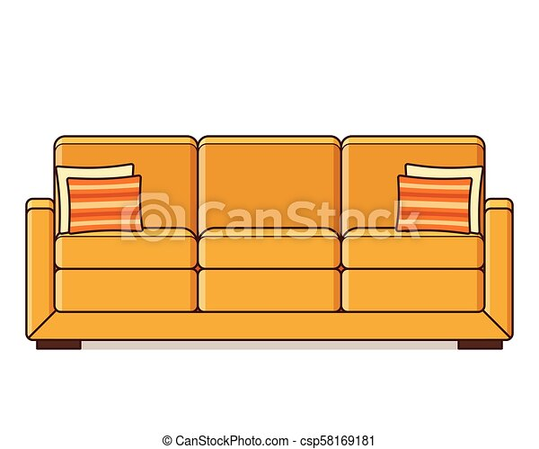 Sofa Icon In Flat Design Vector Illustration Retro Style Sofa