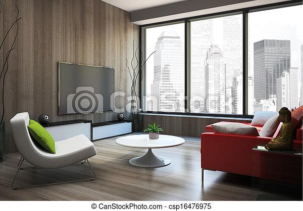 sofa, modern, übertragung, inneneinrichtung, rotes , 3d - csp16476975