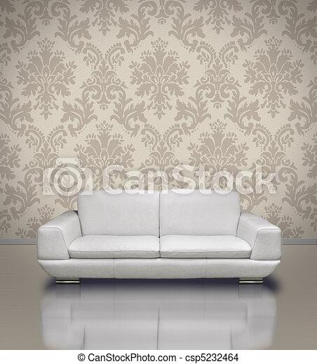 Sofa, Modern, Tapete, Damast Stock Illustration