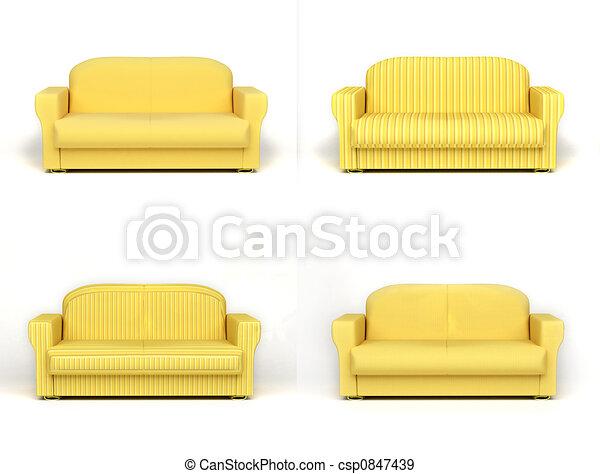sofa on white background - csp0847439