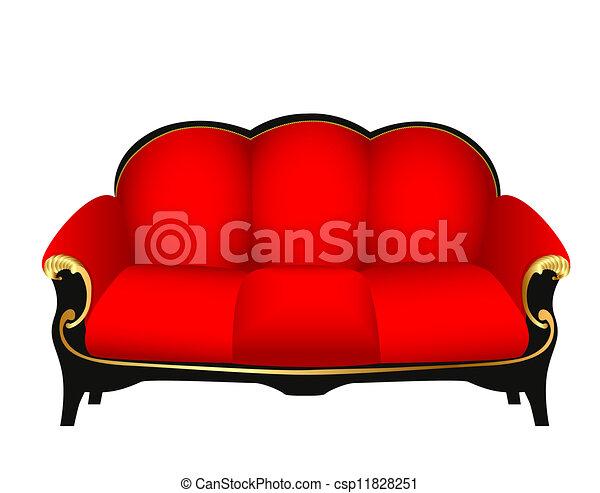 sofa, rouges, découpé, or, motifs - csp11828251