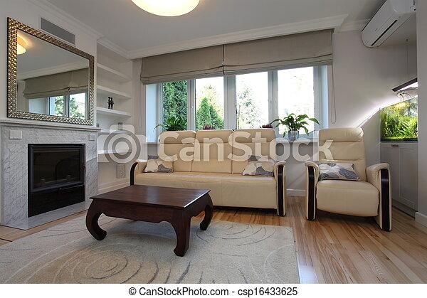 sofa, salle, fauteuil, vivant - csp16433625