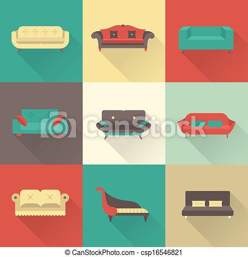 sofa, vecteur, icônes - csp16546821