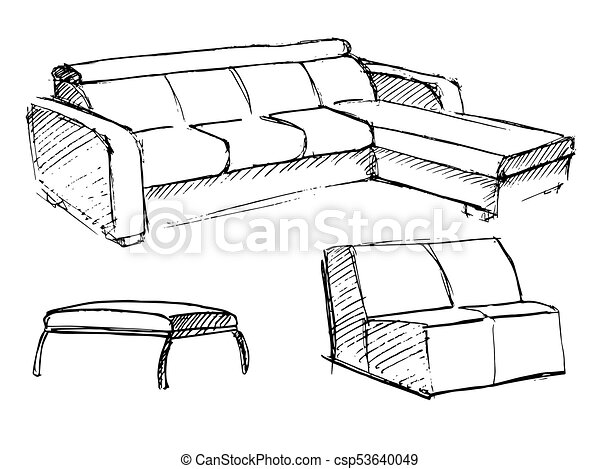 Sofa Vector Sketch Icon Isolated On Background