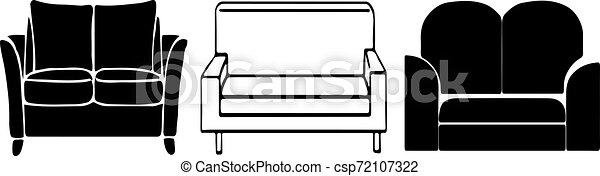 sofa, weißer hintergrund, ikone - csp72107322