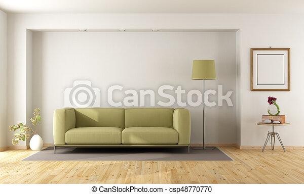 sofa, weißes, grün, zimmer