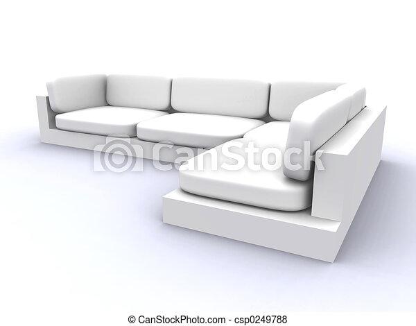 sofa, weißes - csp0249788