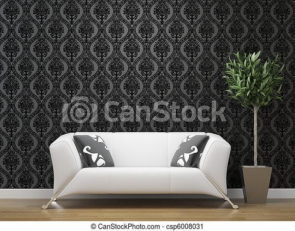 Sofa, weißes, tapete, schwarz, silber. Raum, sofa, tapete ...