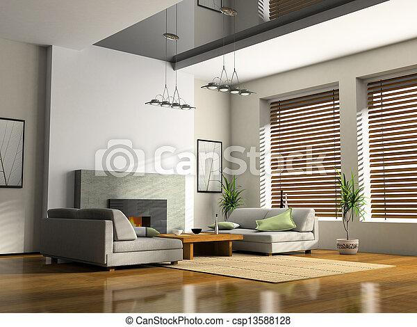 sofas, übertragung, inneneinrichtung, daheim, kaminofen, 3d - csp13588128