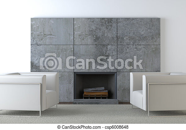 sofas and fireplace - csp6008648