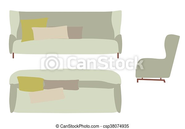 Sofas Set Furniture For Your Interior Design Flat Vector