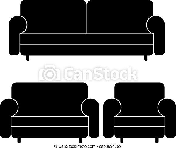 sofas, vecteur, fauteuil - csp8694799