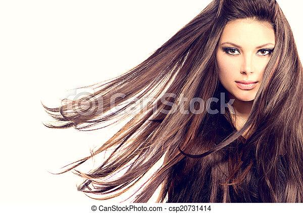 soffiando, capelli lunghi, moda, ritratto, modello, ragazza - csp20731414