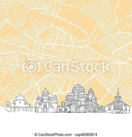 Sofia bulgaria skyline map one color scalable vector art vector