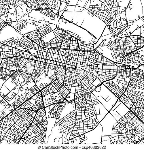 Sofia bulgaria vector map monochrome artprint outline vector