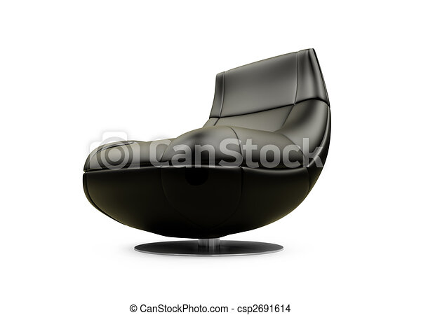 Soft brown armchair over white - csp2691614