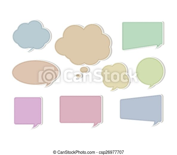 Soft Color Flat Speech Bubbles on Various Shape and Forms - csp26977707