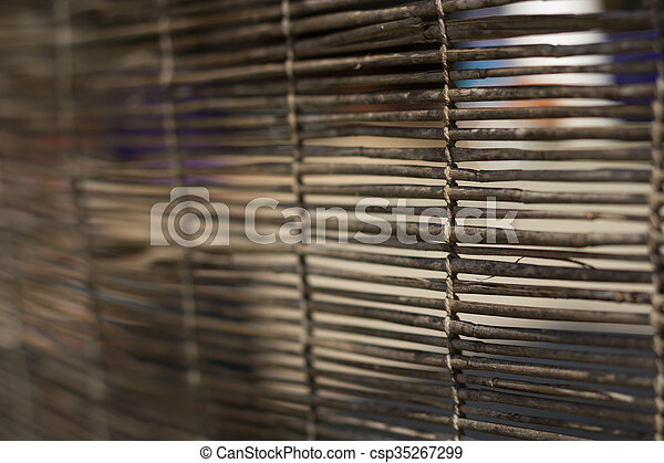 Soft focus of Bamboo curtain for use as nature background. - csp35267299