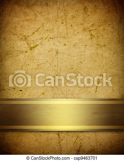 soft golden brown parchment background with ribbon - csp9463701