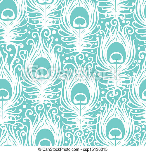 Soft peacock feathers vector seamless pattern background - csp15136815