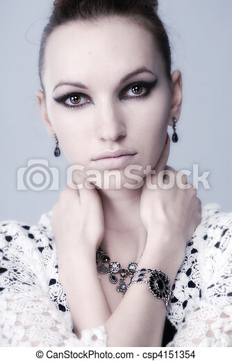 soft portrait of an attractive girl - csp4151354