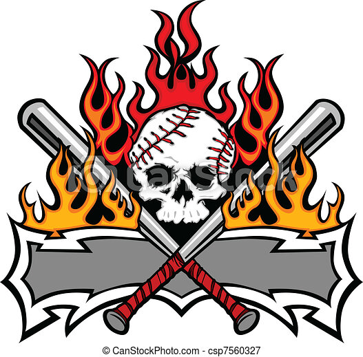 Softball Baseball Skull and Bats Fl - csp7560327