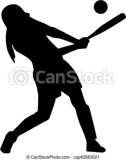 softball batter woman silhouette vector illustration search rh canstockphoto ca female softball player clipart softball player silhouette clipart
