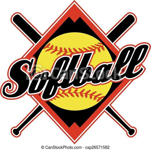 softball design with crossed bats and diamond background rh canstockphoto com softball logo images softball logo vector free