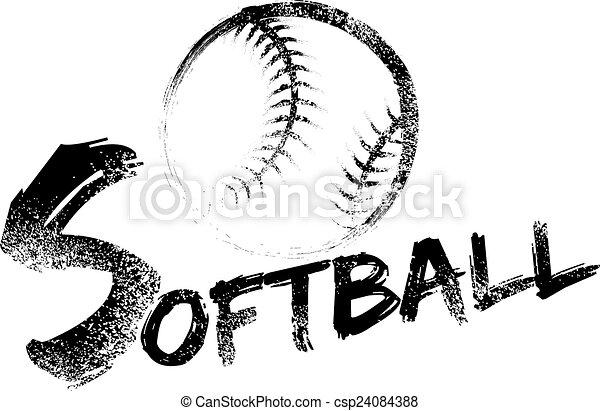 Softball Grunge Streak - csp24084388