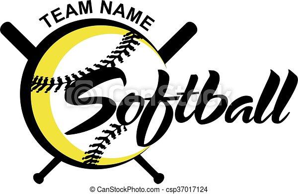 stylized softball team design with ball and bats for school rh canstockphoto com softball team logos and names softball team logo creator