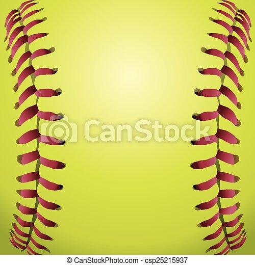 Softball Laces Closeup Background - csp25215937