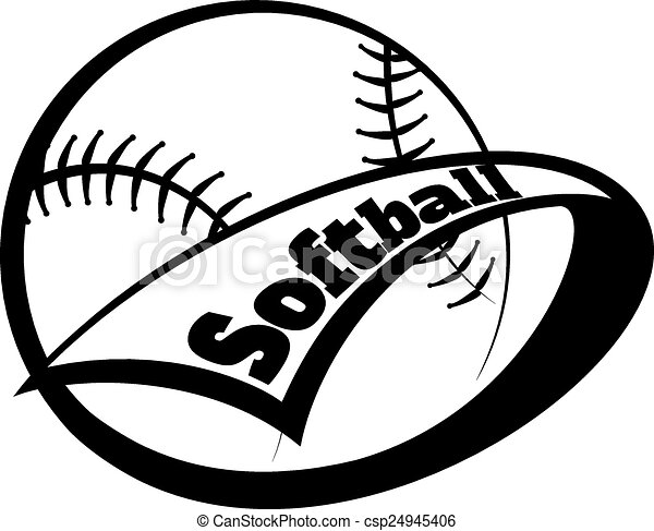 softball pennant with font stylized softball with a pennant rh canstockphoto com softball tournament vector art softball player vector art