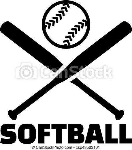 softball with crossed bats and ball rh canstockphoto com Baseball Bats Cross Clip Art Religious crossed baseball bats clipart