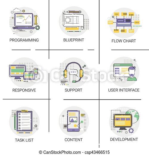 Software application interface development computer vector clip software application interface development computer programming device technology content icon set csp43466515 malvernweather Images