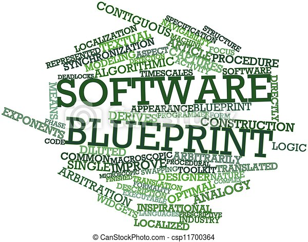 Abstract word cloud for software blueprint with related tags and terms software blueprint csp11700364 malvernweather Image collections