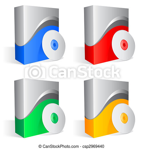 software boxes set of 4 colored software boxes and cds rh canstockphoto com Software Developer Clip Art Application Software Clip Art