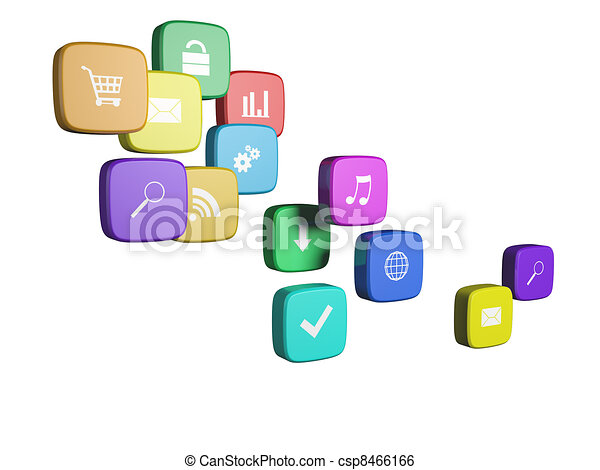 Software concept: cloud of program icons isolated on white background - csp8466166
